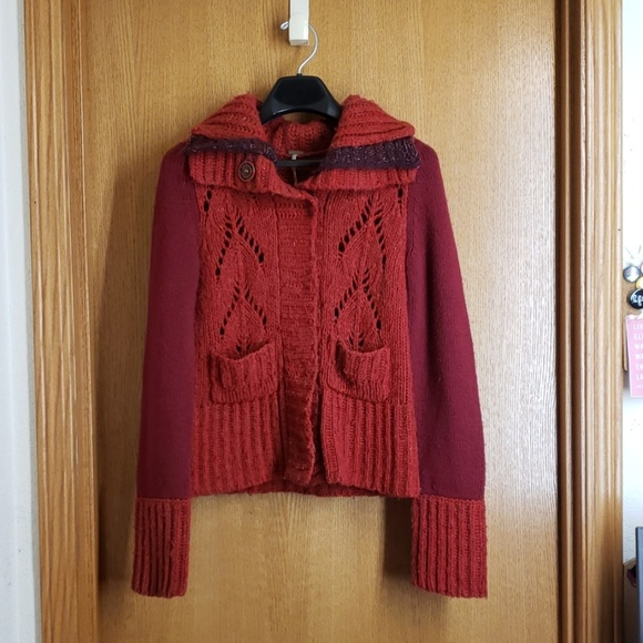 Free People Sweaters - Fall Free People Knit Wool Blend Cardigan Red Sz S